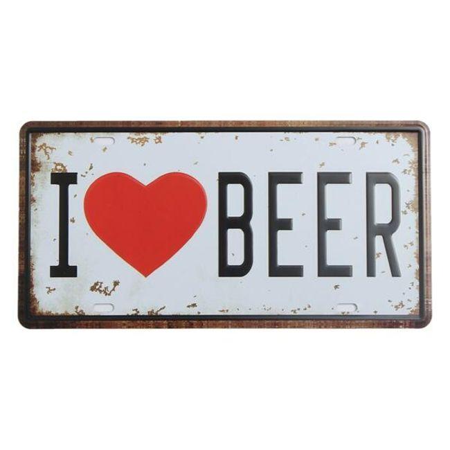 Starinski kovinski napis z besedami I Love Beer 1