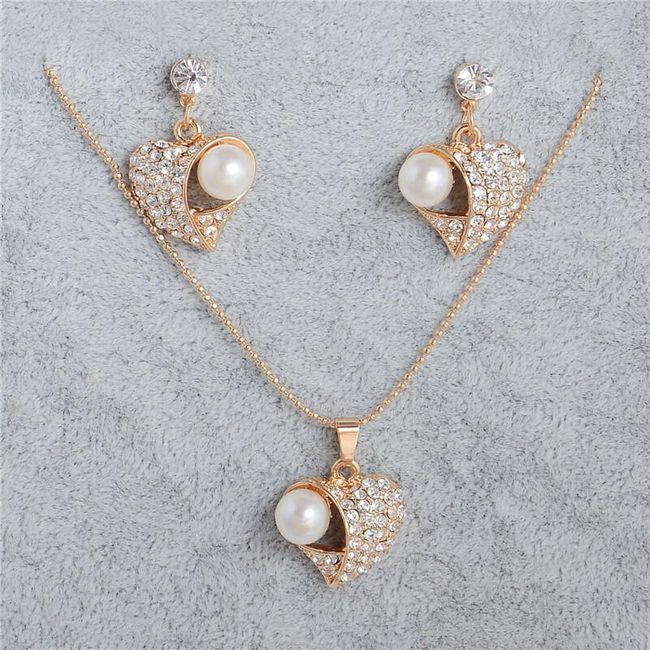 Sada šperků - motiv srdíčka s umělou perlou 1