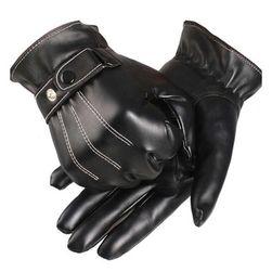 Męskie czarne rękawiczki ze sztucznej skóry