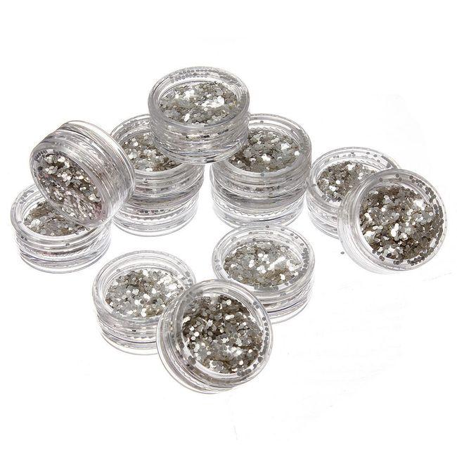 Stříbrné glitry na nehty - 12 krabiček 1