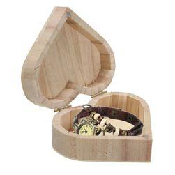 Dřevěná šperkovnice ve tvaru srdíčka