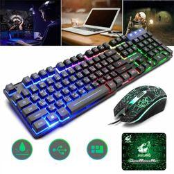 LED игрален комплект - клавиатура, мишка, подложка Sonyk