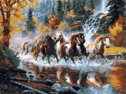 DIY obraz - malování podle čísel - koně
