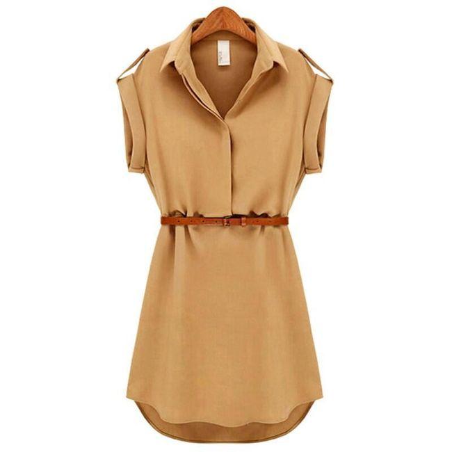 Obleka - srajca s pasom - 2 barvi 1