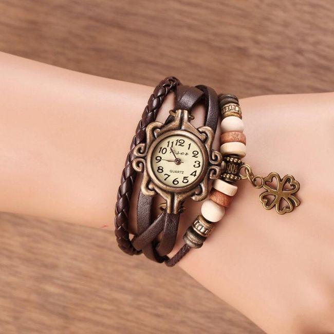 Наручные часы в винтажном стиле с четырехлистным клевером  1