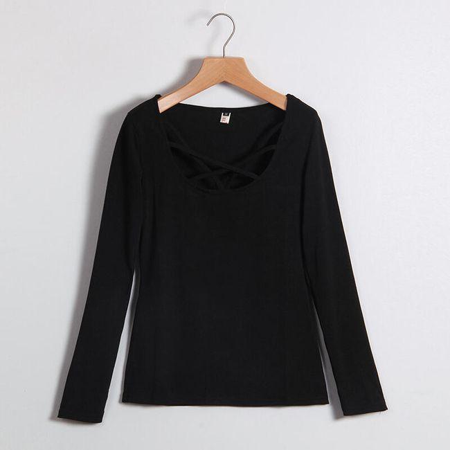 Dámské tričko s moderním výstřihem - Černá - 2 1