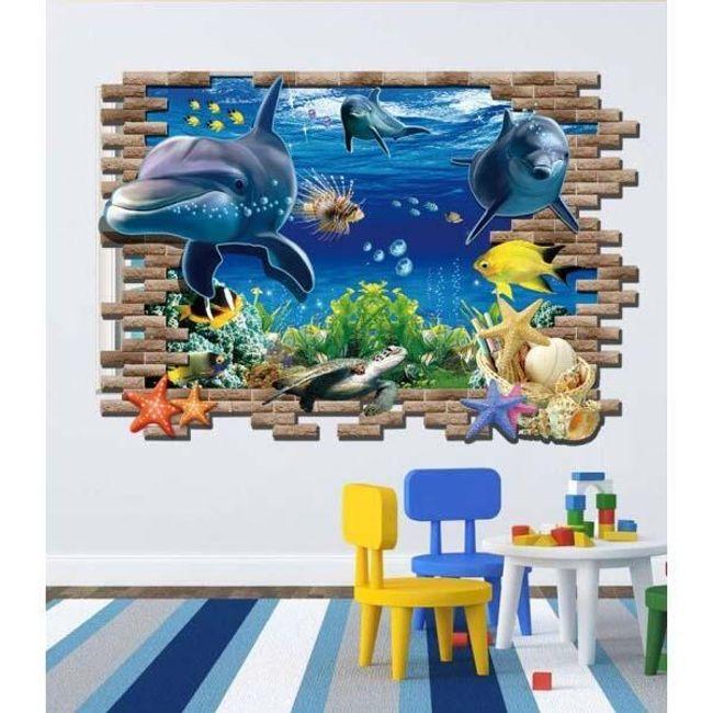 3D стикер за стена с делфини 1