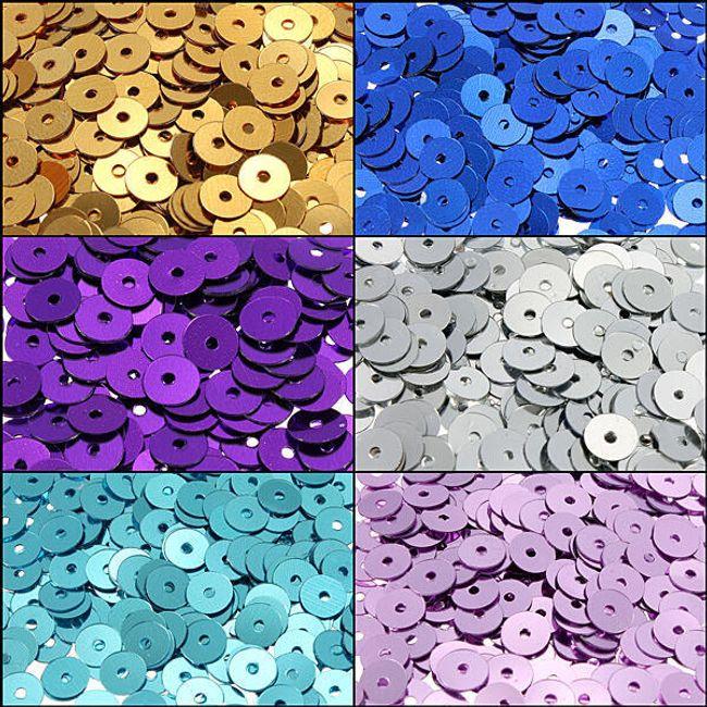 Lesklé našívací flitry v šesti barvách - balení 200 ks 1