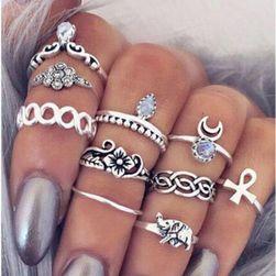 Vintage stílusú gyűrű szett ezüst színben - 10 darab