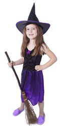 Dětský kostým fialový s kloboukem čarodějnice/Halloween (M) RZ_850910