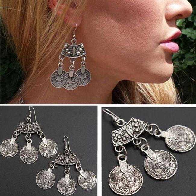 Fülbevaló  - érme - ezüst színű 1