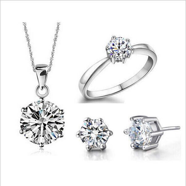 Luxusní sada šperků ve stříbrné barvě 1