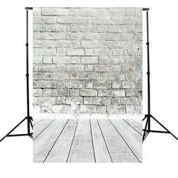 Pozadina foto studija 1,5 k 2,1 m - Sivi zid od opeke sa drvenim podom