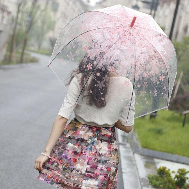 Прозрачен дамски чадър с цветя  1