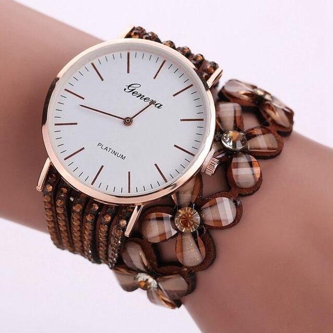 Dámské hodinky s kamínky a květinami - Hnědá 1