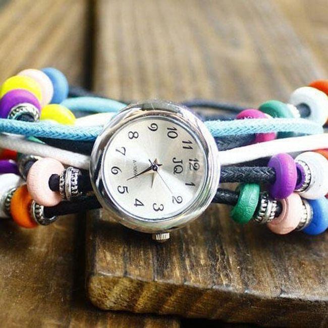 Náramkové hodinky s dřevěnými pestrobarevnými korálky 1