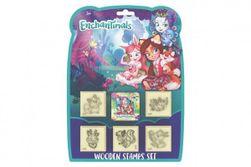Pečiatky 5 + 1 Enchantimals s poduškou 4,5x4,5cm drevená na karte RM_91019877