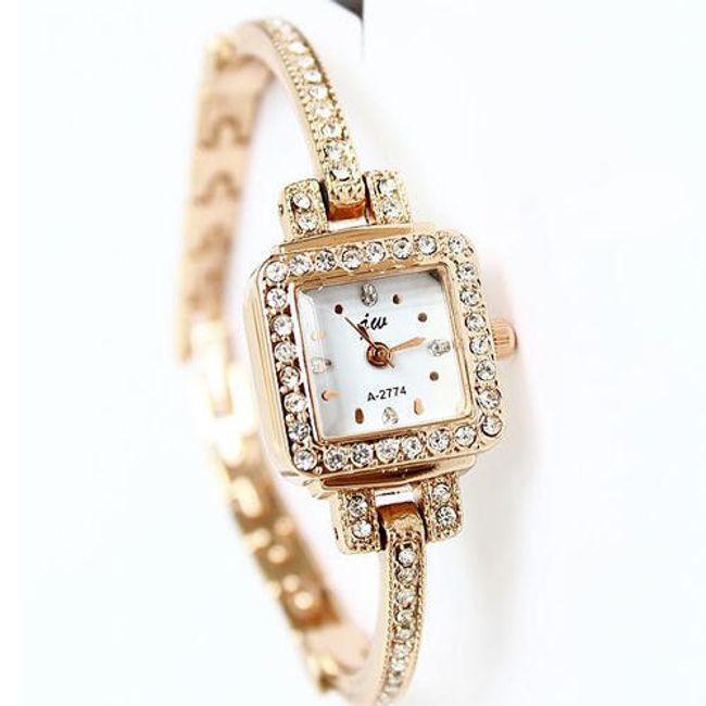 Delikatny damski zegarek z kamyczkami i kwadratową tarczą 1