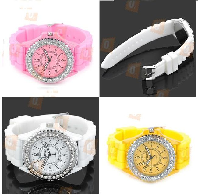 Damski sportowo - elegancki zegarek ozdobiony kamyczkami - oferujemy 3 kolory 1