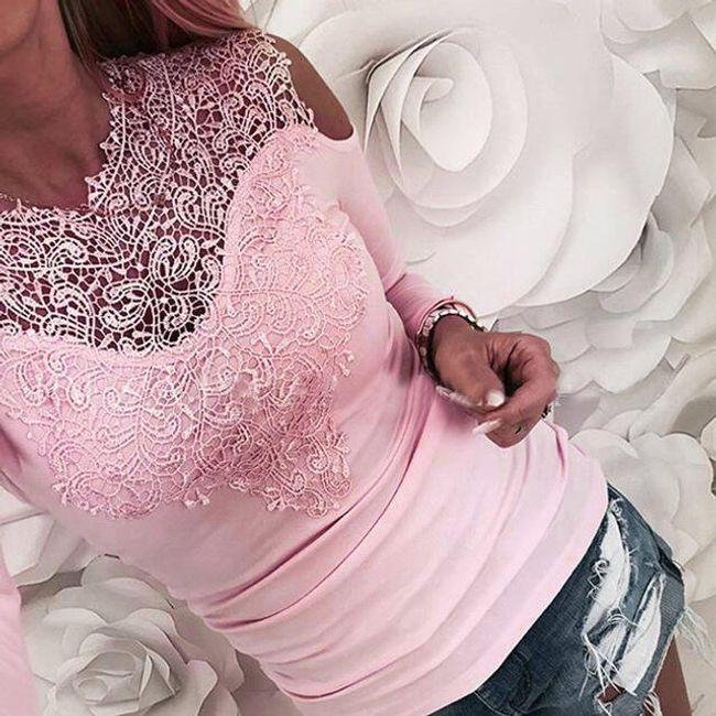 Elegantní tričko Anneke s krajkami - Růžová-S/M 1