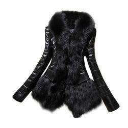 Skórzana kurtka z kożuszkiem w czarnym kolorze
