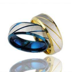 Pánský prsten v modré a zlaté barvě
