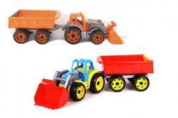Traktor / rakodó / kotrógép vontatóval kanállal műanyag szabadon futó 2 színben, nettó 16x61x16cm RM_00880121