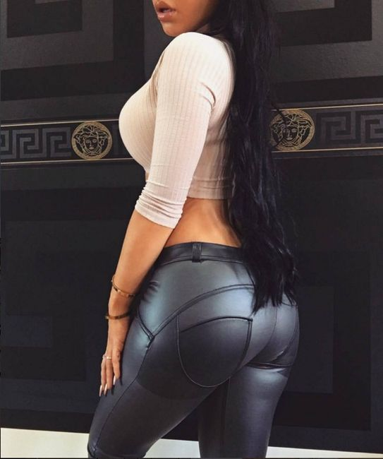 Stílusos  push up mű bőrből készült nadrág