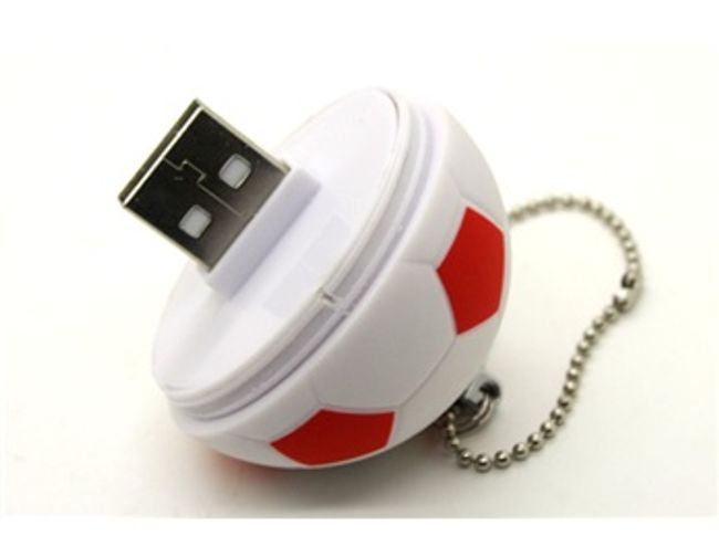 1GB Flashdisk ve tvaru fotbalového míče - červenobílý 1