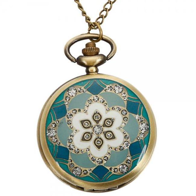 Kapesní cibulové hodinky s tyrkysovým ornamentem 1