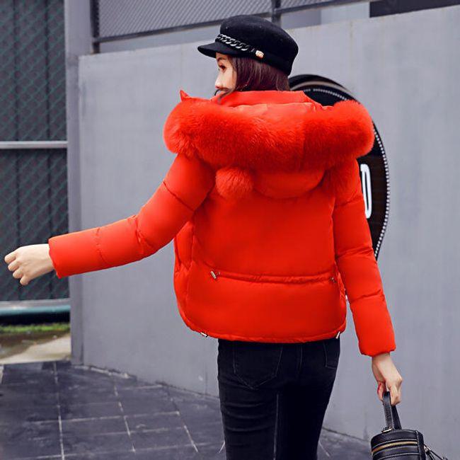 Zimní bunda s umělým kožíškem Cara - Červená-XS 1