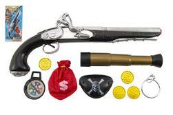 Pirátská sada- Pistole+dalekohled s doplňky plast na kartě 20x43x6cm RM_00312603