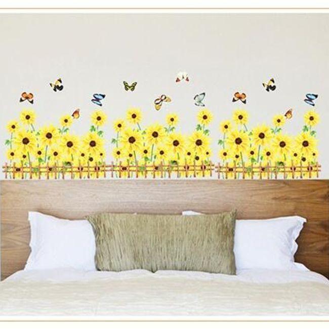 Autocolant pentru perete - floarea soarelui si fluturi 1