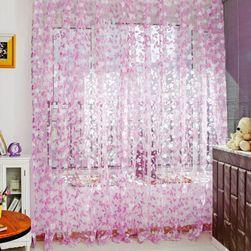 Moderní záclona se vzorem listů - 3 barvy Růžová