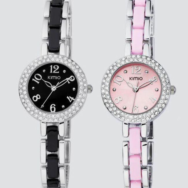 Luxusní hodinky KIMIO zdobené kamínky - 3 barvy 1