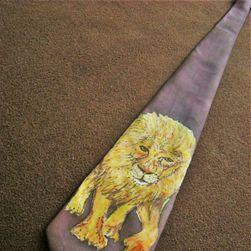 Hedvábná ručně malovaná kravata Lev