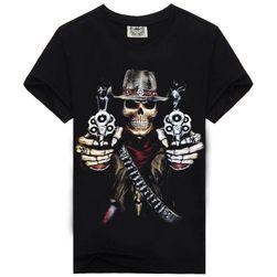 Tricou pt. bărbați cu motiv craniu și pistoale