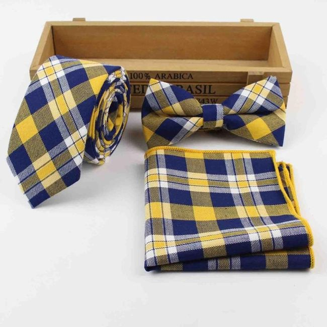 Elegáns készlet - nyakkendő  csokornyakkendő és zsebkendő.