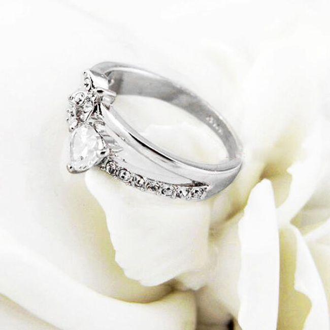 Elegantní zdvojený prsten s kamínky 1