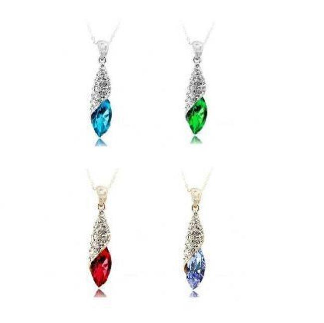Elegantní náhrdelník s barevným kamenem ve tvaru slzy 1