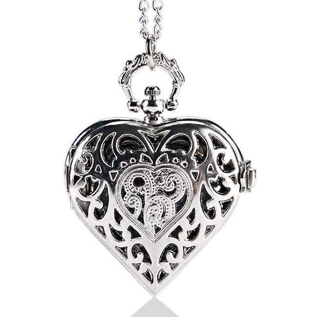 Žepna ura v obliki srca - srebrna barva 1