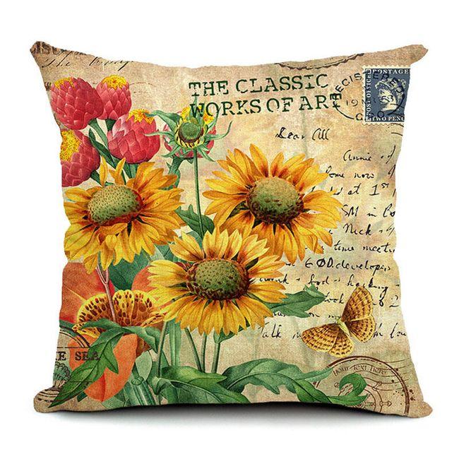 Povlak na polštářek s květinovým motivem 1