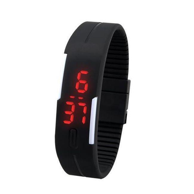Sportovní LED hodinky ze silikonu - černá barva 1