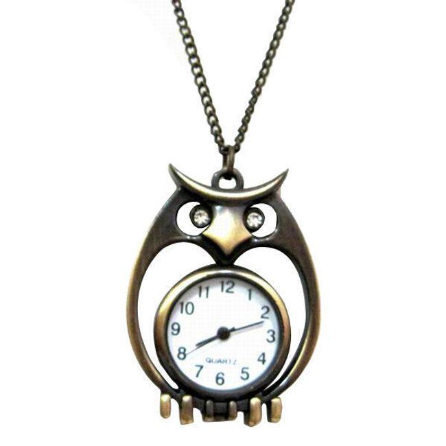 Originální náhrdelník s hodinkami s motivem sovy 1