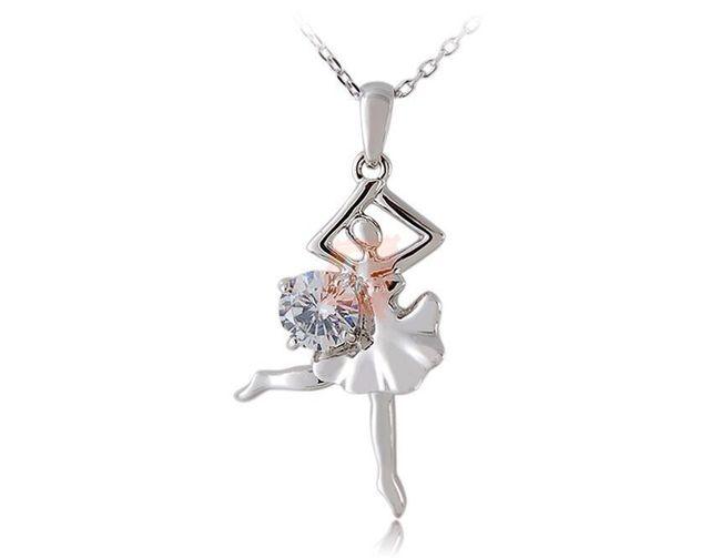 Náhrdelník s baletkou - stříbrná barva 1