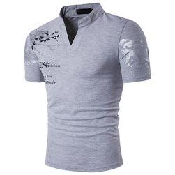 Pánské triko s límečkem a originálním potiskem - 4 barvy