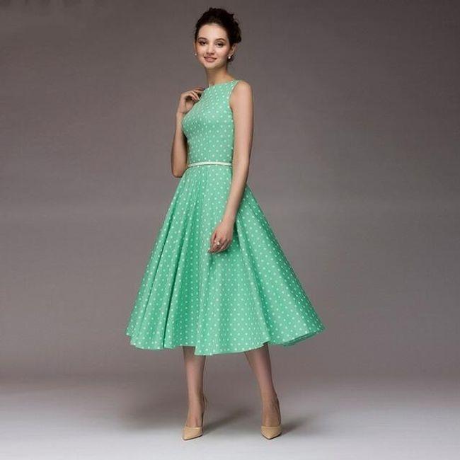Vintage dámské šaty s puntíky - Tyrkysová-M 1