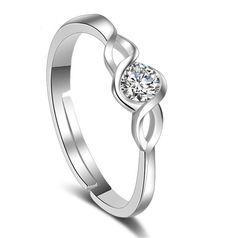 Podešljivi ženski prsten srebrne boje sa kamenčićem
