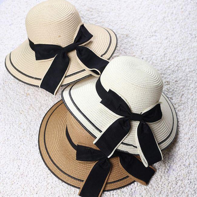 Женская соломенная шляпа с бантом 1