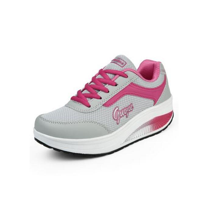 Dámská sportovní obuv s vyšší podrážkou - Tmavě růžová - 36 1